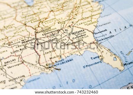 Closeup Macro Map USA Focus On Stock Photo (Edit Now) 743232460 ...