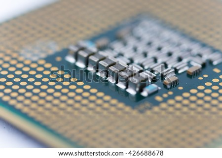 Close up macro selective focus of pc processor computer abstract background. - stock photo
