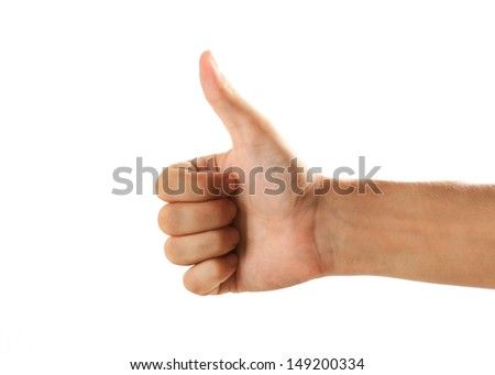 Close up mans hand in gesture against white background