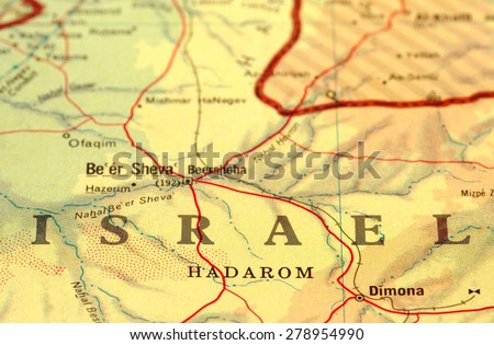 close-up map detail of Israel - stock photo
