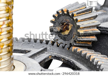 close-up mechanical gear with a large toothed wheel of Floodgate valve - stock photo