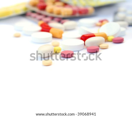 Close-up medical pills and tablets background.