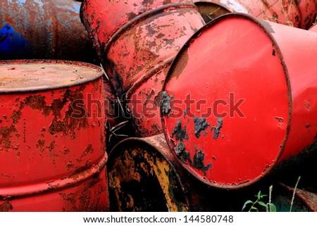 close up metal tank garbage in landfill - stock photo