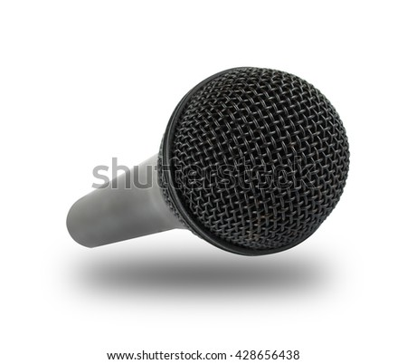Close-up microphone isolated on white background