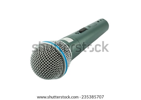 Close up microphone on a white background