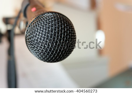 Close-up microphone on concert