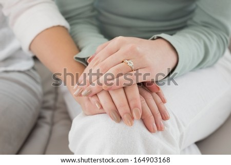 Close-up mid section of female friends touching hands at home - stock photo
