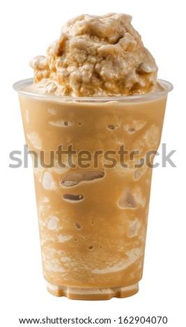 stock photo close up milk coffee smoothie in plastic cup isolated on white with path 162904070   Iced Coffee Thai Iced Tea With Iced Chocolate Royalty Free Stock Photo Image