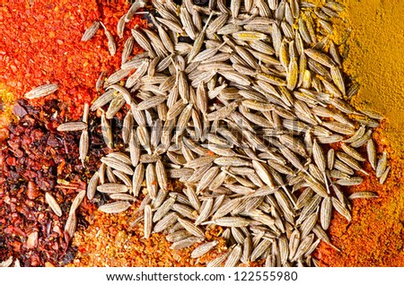 Close up mix of spices - stock photo