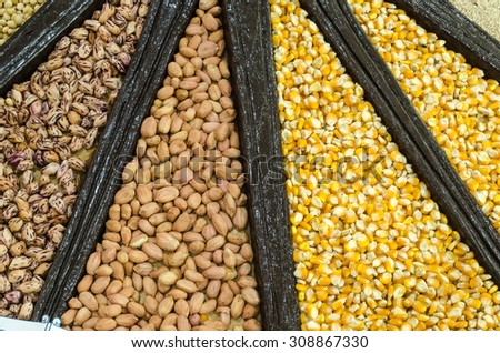 close-up, Mixture of dried lentils, peas, Grains, beans background. - stock photo