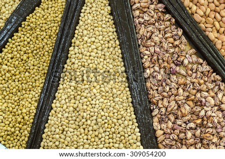 close-up, Mixture of dried lentils, peas, Grains, beans background.