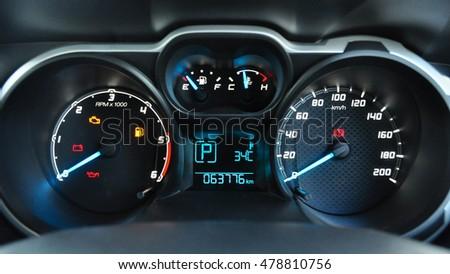 Close Modern Car Dashboard Stock Photo Shutterstock - Car image sign of dashboardcar dashboard sign multifunction display stock photo royalty