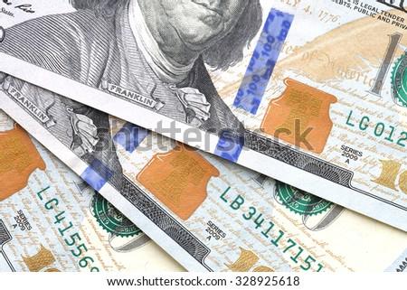 Close Up Money Background with USA Dollars - stock photo