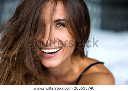Close up morning portrait of smiling pretty woman with green eyes, sensual fresh happy face, positive emotions. - stock photo