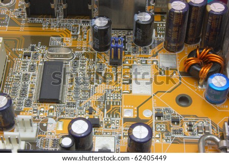 Close-up mother board. High technology industry.