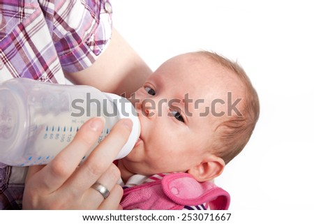 Close up Mother Feeding her Cute Baby with Milk in a Battle. Captured with White Background.