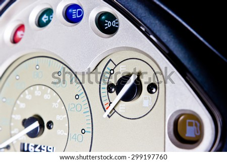 Close up motorcycle dashboard, Focus on the empty fuel meter - stock photo