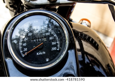 close-up motorcycle speedometer with chrome ring,selective focus - stock photo