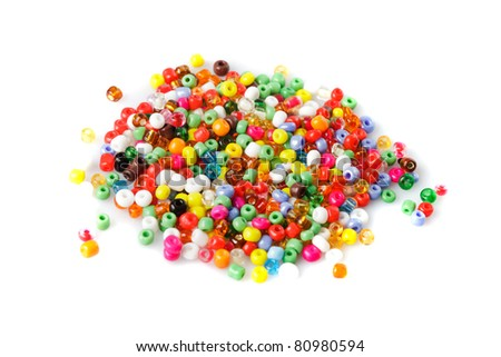 close up multi colored beads heap isolated on white - stock photo