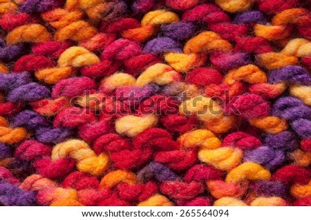 close-up multicolored knitted background - stock photo