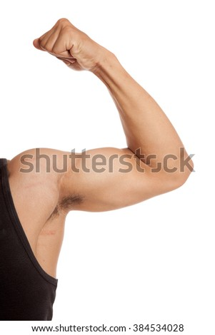 Close up Muscular Asian man arm flexing biceps  isolated on white background