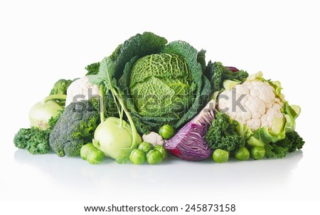 Close up Newly Harvest Healthy Vegetables Isolated on White Background - stock photo
