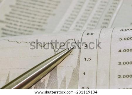Close-Up Newspaper Stock Market Reports - stock photo