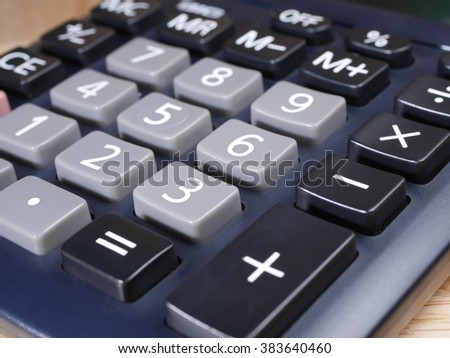 Close up number of calculator on wood background