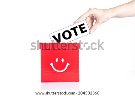 close up of a ballot box and casting vote - stock photo