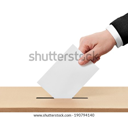 close up of  a ballot box and casting vote on white background - stock photo