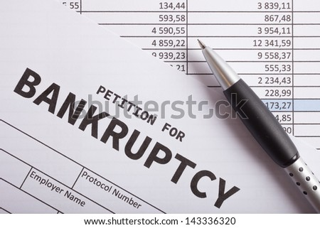 Close-up of a bankruptcy petition