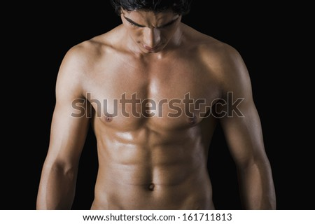 Close-up of a bare chested man