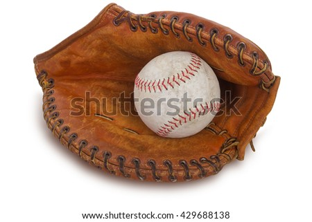 Close-up of a baseball glove and a ball