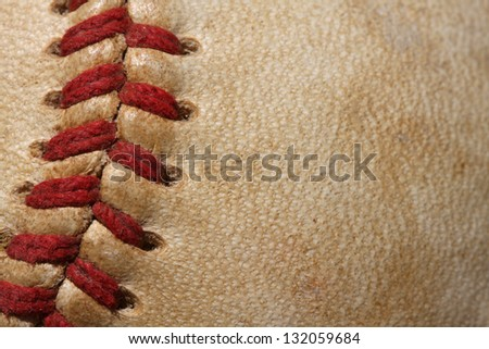 Close up of a baseball threads with room for copy - stock photo