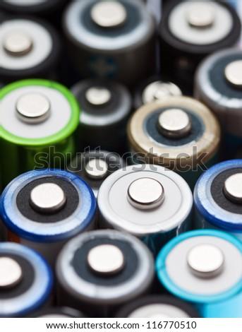 Close up of a batch od batteries - stock photo