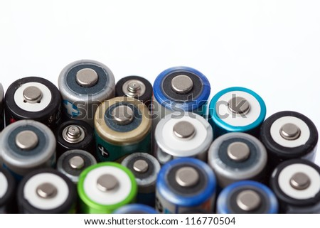 Close up of a batch od batteries with copy space - stock photo