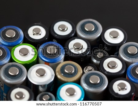 Close up of a batch od batteries with copy space