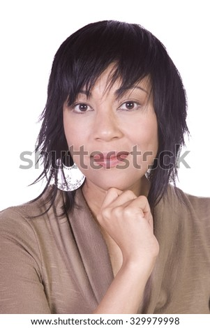Close up of a Beautiful Asian Hispanic Girl - Isolated Shot - stock photo