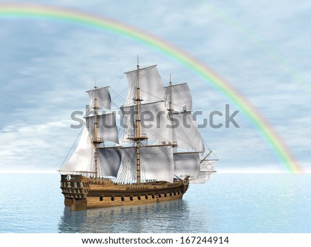 Close up of a beautiful detailed old merchant ship under rainbow on the ocean - stock photo