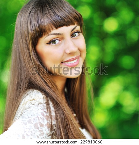 Close up of a beautiful girl face outdoor