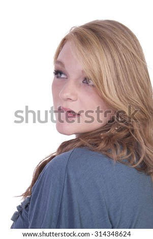 Close up of a Beautiful Girl - Isolated background - stock photo