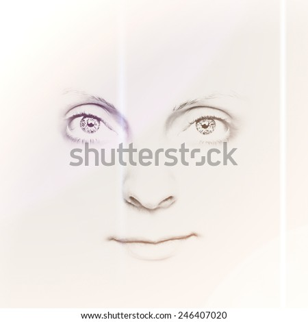 Close-up of a beautiful girl's face with incredible eyes - stock photo
