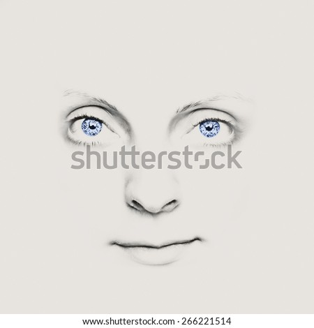 Close-up of a beautiful girl's face with incredible eyes