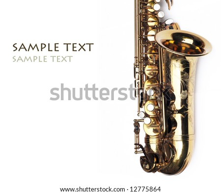 close-up of a beautiful golden saxophone against white background - stock photo