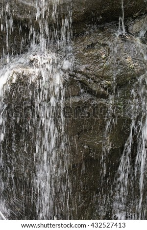 Close-up of a beautiful relaxing waterfall to be used as a background for multiple purposes