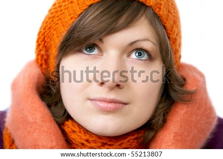 close up of a beautiful Winter Woman isolated on white - stock photo