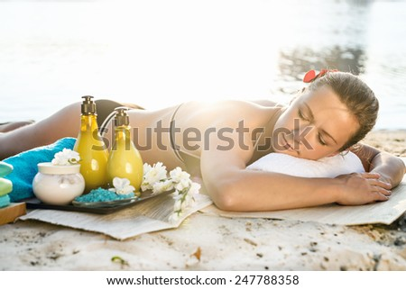 Close-up of a Beautiful Woman Getting Spa Treatment - stock photo