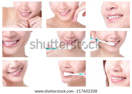 close up of a beautiful woman mouth and brushing her teeth isolated on white background, asian girl - stock photo