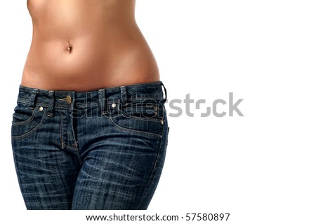 Close up of a beautiful woman's waist isolated on a white background - stock photo