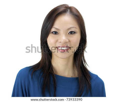 Close-up of a beautiful young woman smiling on white background